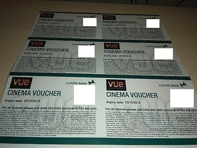 6 x Vue Cinema voucher tickets , Expiry date 3rd October 2018