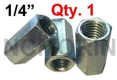 Qty 1 Hex Rod Coupling Nuts 1/4-20 x 7/8 Threaded Rod Connectors Zinc Coupler