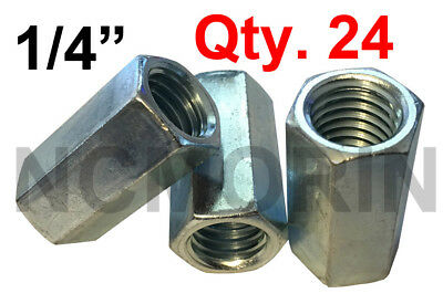Qty 24 Hex Rod Coupling Nuts 1/4-20 x 7/8 Threaded Rod Connectors Zinc Coupler