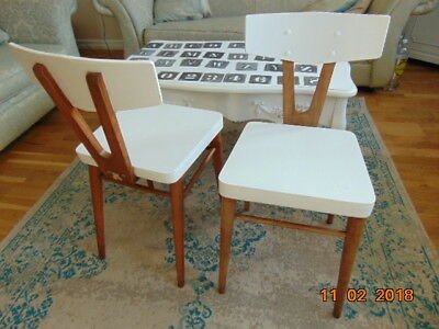 """A Pair Of French  Retro  Beech Chairs  Cantel Furniture  Dinette 30"""""""