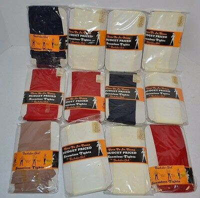 VINTAGE New Lot of 12 Bachelor Girl Tots to Teens Seamless Tights 4-6x  1960's