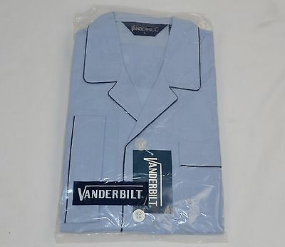 "Vtg 1970's Men's Blue Pajama Set Pants/Shirt Size ""A"" Small - NEW Old Stock"