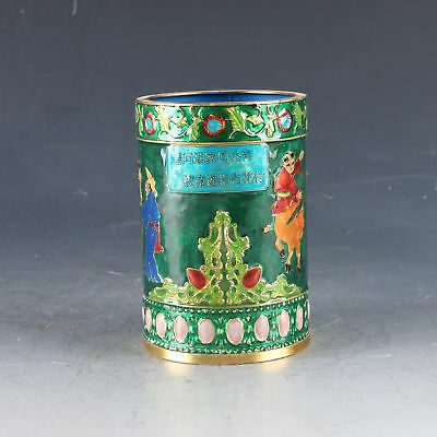 Chinese Cloisonne Handwork Carved Children&Cow Pen Holder W Qianlong Mark DY0416