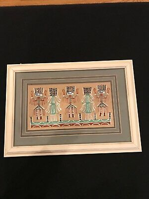 native american sand painting signed by Foster. Custom matted and framed.