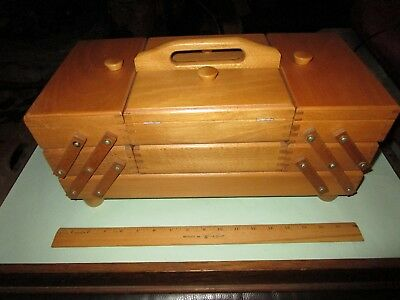 Vintage Accordion Sewing Box Expandable Fold Out Wooden ROMANIA 3 Tier