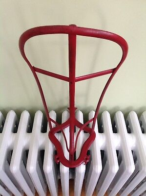 Antique Red English Horse Saddle Rack Wall Mount Holder Cast/Iron