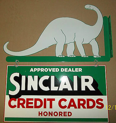 Awesome 2 Piece Sinclair/Dino Flange Sign, Heavy Steel, Great Color and Shine