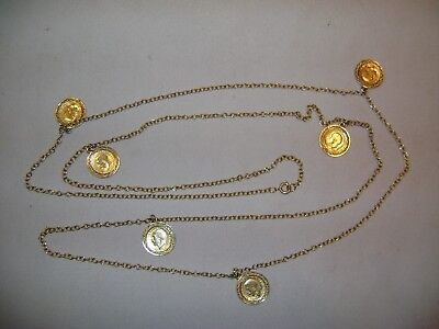 Necklace with Six 1920 British Threepence Coins on 54 Inch Long Chain