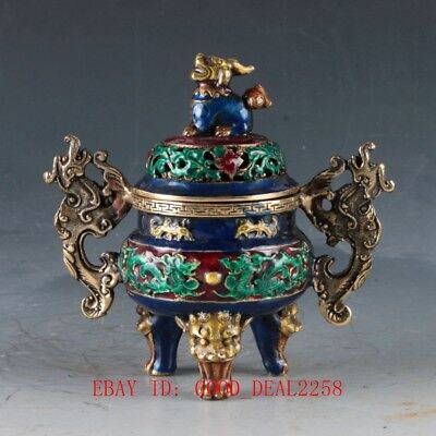Chinese Cloisonne Hand Carved Dragon incense Burner W Qianlong Mark  DY317