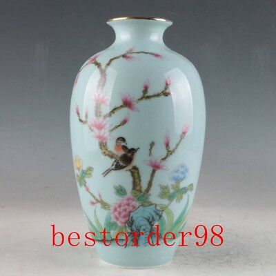 China Porcelain Hand-Painted Birds&Flowers Vase Made During The Daqing Qianlong