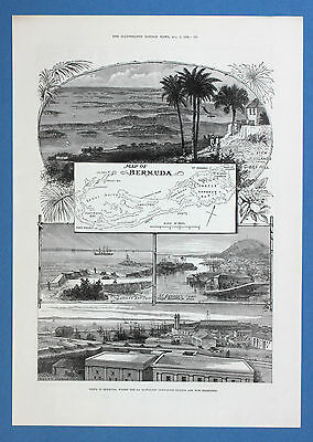 Map of BERMUDA Grassy Bay Gibbs Hill George Town 1892 Illustrated London News