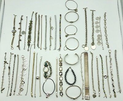 621g WEARABLE OR SCRAP STERLING SILVER JEWELRY LOT BRACELET BANGLE CUFF CHAIN