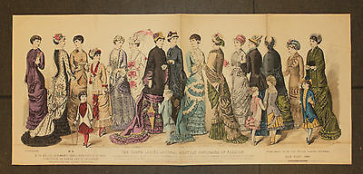 The Young Ladies Journal 1879 Original 33x74cm Mode Fashion Kinder Children