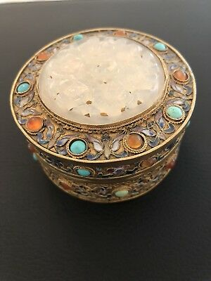 Antique? Chinese Gold Gilt JEWELED  Box Jade Jadeite?  Carved Cloisonné Enamel