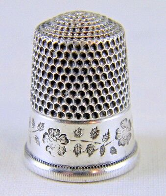 Large Antique Simons Sterling Silver Thimble with Wide Floral Band, Size 12