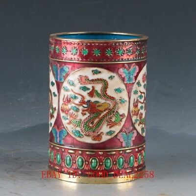 Chinese Cloisonne Hand carved Dragon Pen Holder W Qianlong Maik DY327