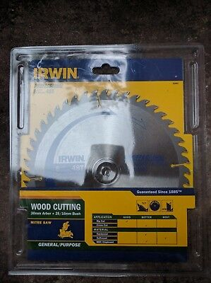 "IRWIN professional wood cutting saw blade 216mm (8 1/2"") 48T Bore 30mm+25mm 16mm"