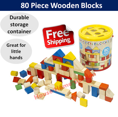 Wooden Blocks Building Block 80pcs Toy Wood Set Kids Motor Skill Round Container
