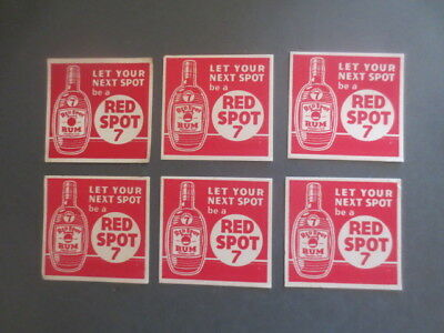 6 x Bundaberg ,RED SPOT 7 Rum Spirit 1960,s Issue collectable COASTERS