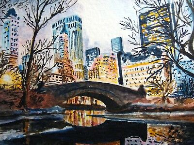 Painting New York City Central Park Bridge Lake Winter Nature ACEO Art