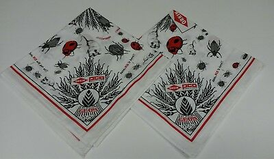 """2 ORKIN PCO SERVICES Advertising 20"""" Cloth Napkins Bugs~Mice~Rodents~Beetles"""