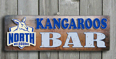North Melbourne KANGAROOS - Rustic Wooden Bar Plaque Bar Sign FREE POST
