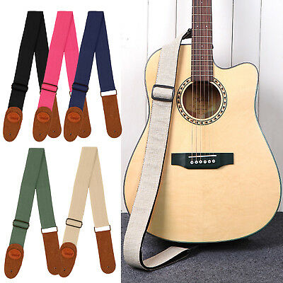Adjustable Cotton Guitar Strap Acoustic Bass Webbing Leather Ends + 5 Colours