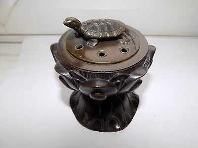 c1900 ANTIQUE JAPANESE or CHINESE SMALL LILY PAD BRONZE CENSER TERRAPIN TO LID