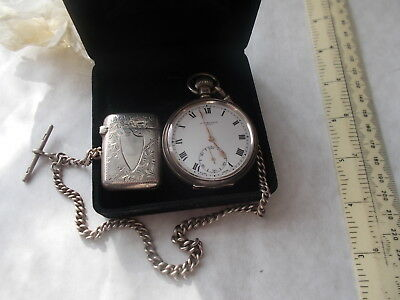 A GOOD ENGLISH SILVER POCKET WATCH BY J.W.BENSON ,CHAIN & VESTA. Nr MINT CONDIT