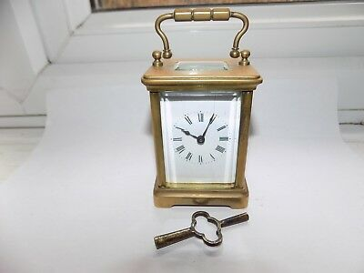 Nice Quality Antique French 8 Day Key Wind Brass Miniature Carriage Clock