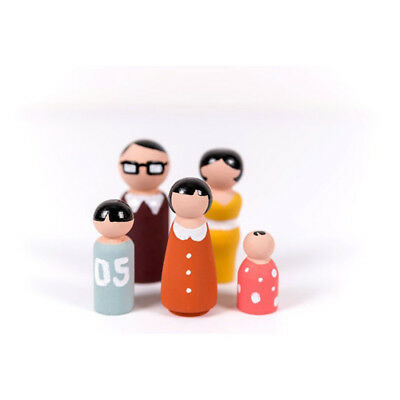 5Pcs Wooden Peg Dolls Family DIY Crafts Cake Topper Kid's Printed Decoration