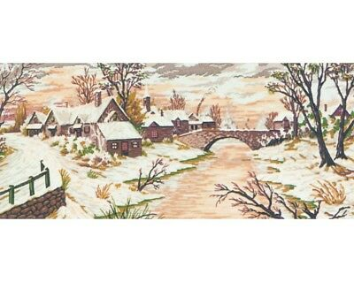 Village Snowscene - Collection D'Art Tapestry Canvas 13971