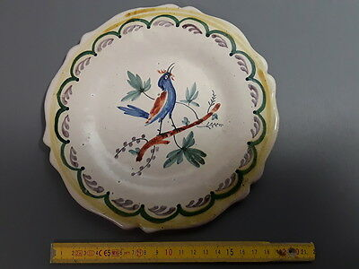 1ancienne Small plate flat pattern central bird french antique Flat