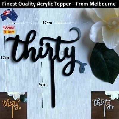 Thirty Birthday 30th Birthday Dirty Acrylic Cake Topper Gold & Silver Aus Stock