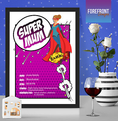 Personalised MOTHER'S DAY SUPERMUM print gift/NANNA/MUM/GRANDMA Special present