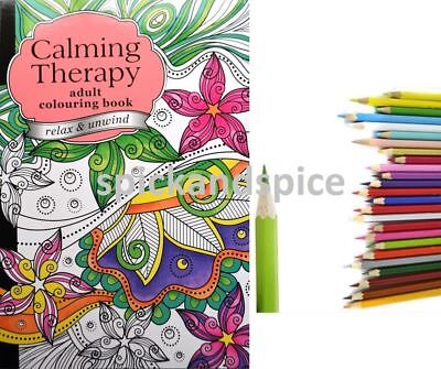 ADULT COLOURING COLOUR THEARPY BOOK Relaxing Anti-Stress & 20 Colouring Pencils