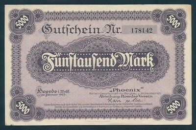 Germany: WEIMAR REPUBLIC 20-2-1923 5000 Mark. Unlisted in Pick