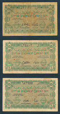 Egypt: 1940 5 Piastres RARE COLLECTION of 3 DIFFERENT SIGNATURES. Pick 163