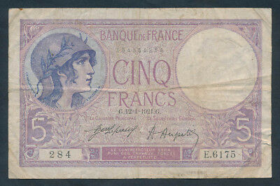 France: 12-1-1921 5 Francs. Pick 72b, Cat Very Fine $133 SCARCE EARLY DATE!