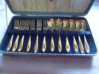 Vintage Collectable Canteen Of Cutlery Cased Set Cake Forks & Fruit Spoons