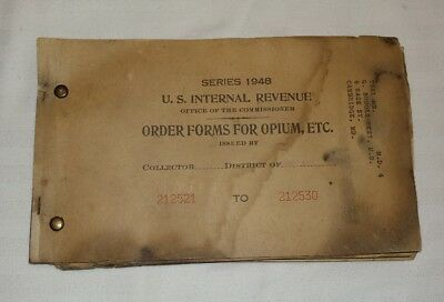 1948 Us Internal Revenue Order Forms For Opium Cambridge Maryland Free Shipping!