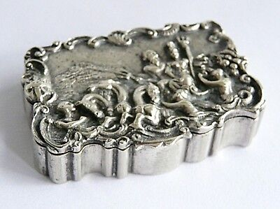 Victorian solid silver table snuff box- relief classical scene- gold interior