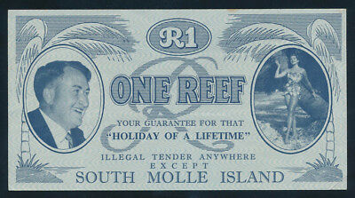 Australia: 1960s South Molle Island 1 REEF Tourist Currency. Few folds & SCARCE!