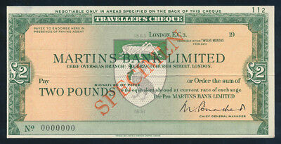 Great Britain: MARTINS BANK 1950s £2 SPECIMEN Travellers Cheque. SUPERB & RARE!