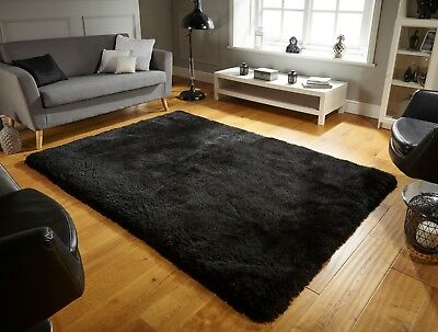 Small - Large Soft Chunky Thick  Deep Long Shaggy 8Cm Pile Pearl Plain Black Rug