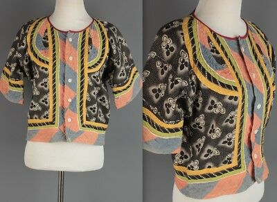 VTG Women's Quilted Cotton Button Up Top #2035 1920s 20s Blouse