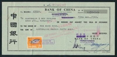 Australia: Singapore 1962 BANK OF CHINA £A50 Draft with stamps