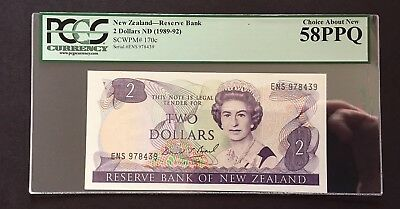 PCGS Currency New Zealand Reserve Bank $2 Banknote Nd Choice About New 58PPQ