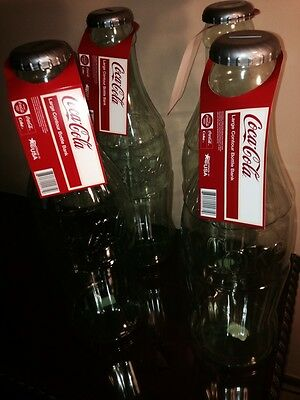 FOUR (4) Clear HUGE Coca Cola Coke Bottle Banks Almost 2Feet Tall $4.99 Shipping
