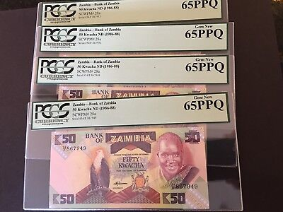 PCGS Currency Graded Zambia Bank 0f Zambia Banknote Gem New 65PPQ P28a